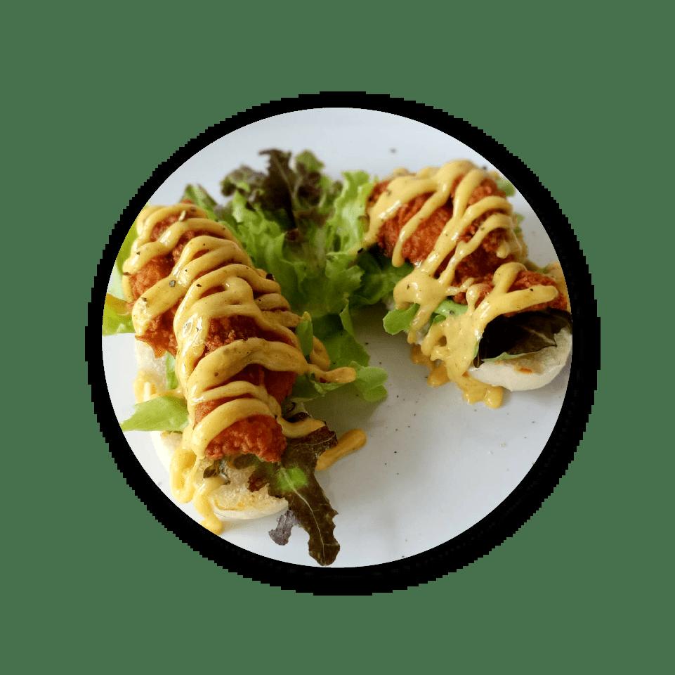 Crispy chicken open sandwich