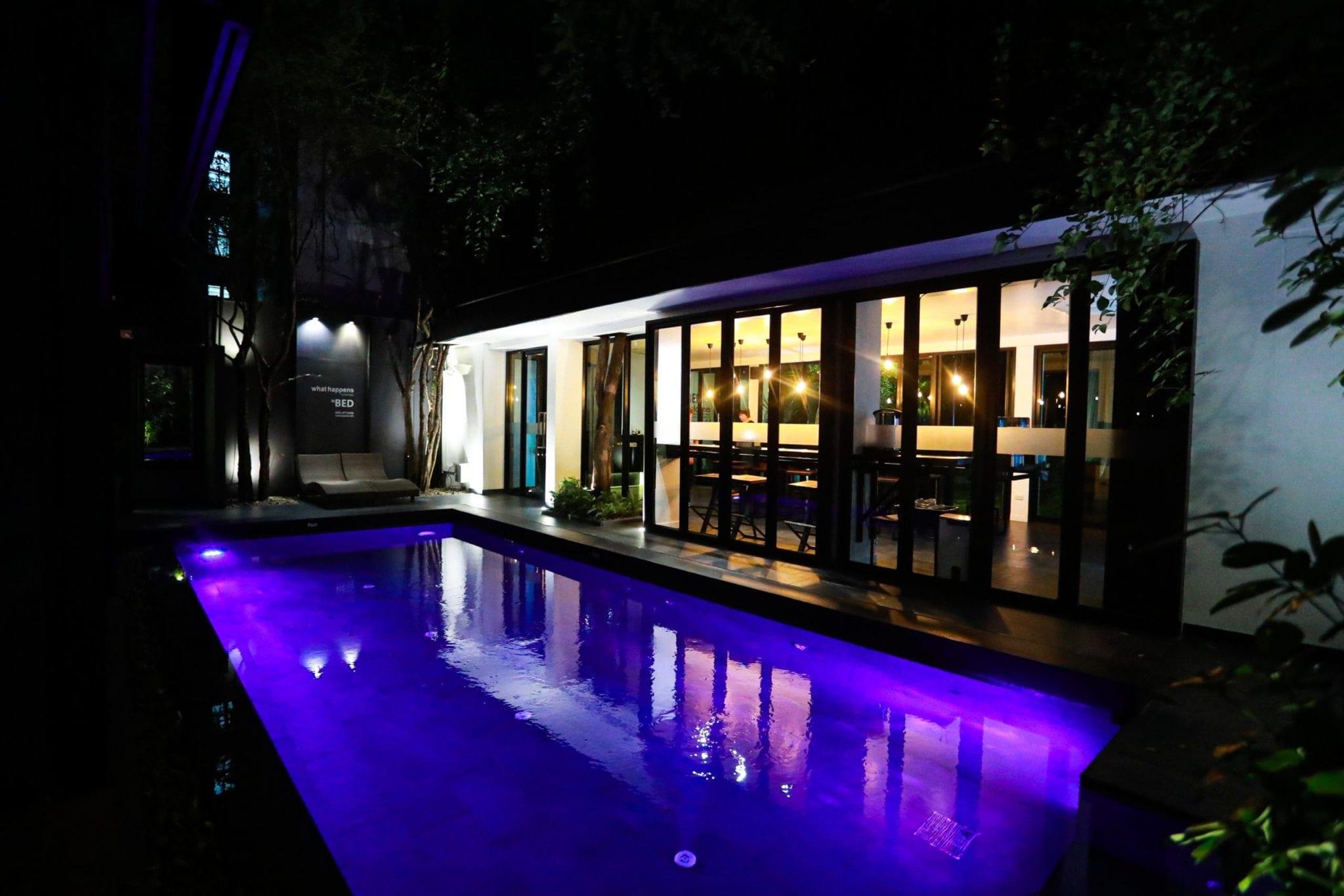 BED Phrasingh's pool at night